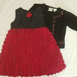 Super Adorable Red & Black Dress with a Cute Sweat